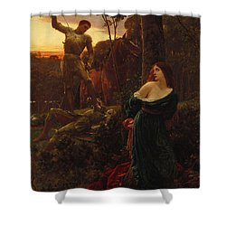 Chivalry Shower Curtain by Sir Frank Dicksee