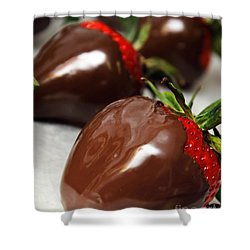 Chocolate Covered Strawberries Shower Curtain by Andee Design
