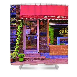 Chocolate Shop La Maison  Cakao Chocolaterie Boulangerie Patisserie Rue Fabre Montreal  Cafe Scene  Shower Curtain by Carole Spandau