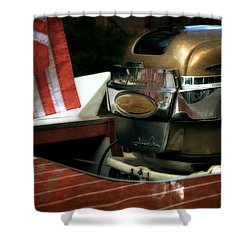 Chris Craft With Johnson Motor Shower Curtain by Michelle Calkins
