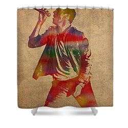 Chris Martin Coldplay Watercolor Portrait On Worn Distressed Canvas Shower Curtain by Design Turnpike