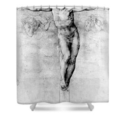 Christ On The Cross Shower Curtain by Michelangelo Buonarroti