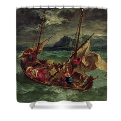 Christ On The Sea Of Galilee Shower Curtain by Delacroix