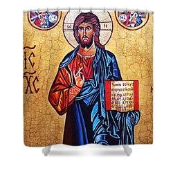Christ The Pantocrator Shower Curtain by Ryszard Sleczka