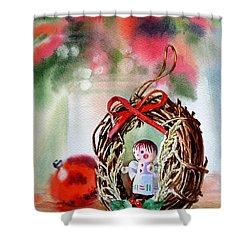 Christmas Angel Shower Curtain by Irina Sztukowski