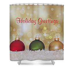Christmas Baubles Shower Curtain by Kim Hojnacki