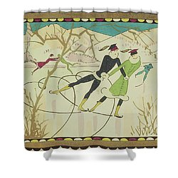 Christmas Card With Figure Skaters Shower Curtain by American School
