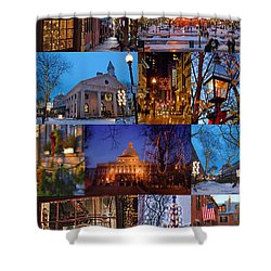 Christmas In Boston Shower Curtain by Joann Vitali