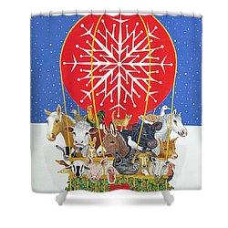 Christmas Journey Oil On Canvas Shower Curtain by Pat Scott