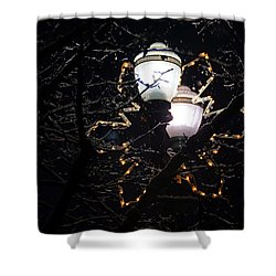 Christmas Light Post - Grants Pass Shower Curtain by Mick Anderson