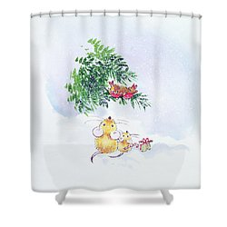 Christmas Mice And Robins Shower Curtain by Diane Matthes