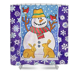 Christmas Snowflakes Shower Curtain by Cathy Baxter