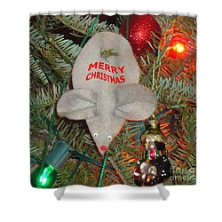 Christmas Tree Mouse Shower Curtain by Joseph Baril
