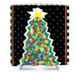 Christmas Tree Polkadots Shower Curtain by Genevieve Esson