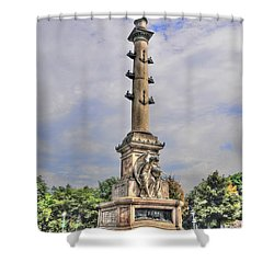 Christopher Columbus Monument At Columbus Circle In Manhattan Shower Curtain by Randy Aveille