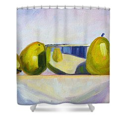 Chrome And Pears Shower Curtain by Nancy Merkle