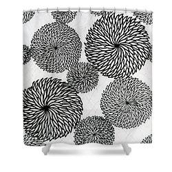 Chrysanthemums Shower Curtain by Japanese School
