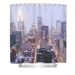 Chrysler Building And Skyscrapers Covered In Snow - New York City Shower Curtain by Vivienne Gucwa
