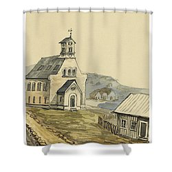 Church At Rejkjavik Iceland 1862 Shower Curtain by Aged Pixel