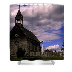Church At The Okeefe Ranch Shower Curtain by Bob Christopher