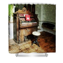 Church Organ With Swivel Stool Shower Curtain by Susan Savad
