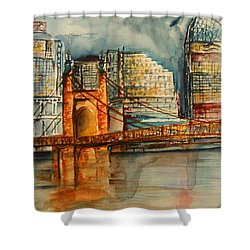Cincinnati At Dusk Shower Curtain by Elaine Duras