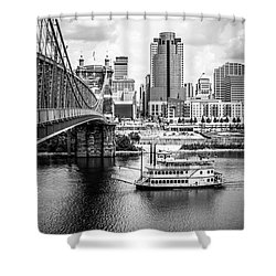 Cincinnati Riverfront Black And White Picture Shower Curtain by Paul Velgos