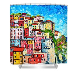 Cinque Terre Italy Manarola Colorful Houses  Shower Curtain by Ana Maria Edulescu
