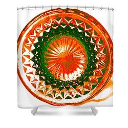 Circle Orange Shower Curtain by Anita Lewis
