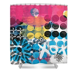 Circus - Contemporary Abstract Art Shower Curtain by Linda Woods