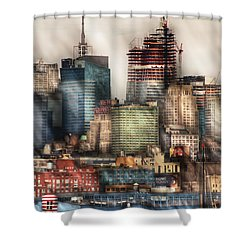 City - Hoboken Nj - New York Skyscrapers Shower Curtain by Mike Savad