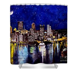 City Of Pittsburgh At The Point Shower Curtain by Christopher Shellhammer