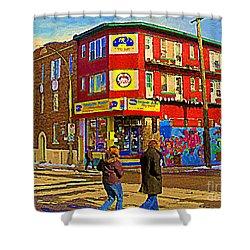 City Paint Benjamin Moore Rue Rachel And Hotel And De Ville Montreals Oldest Paint Store  C Spandau  Shower Curtain by Carole Spandau