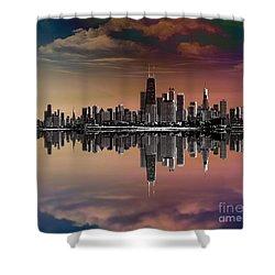 City Skyline Dusk Shower Curtain by Bedros Awak