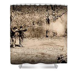 Civil War Soldiers Firing Muskets Shower Curtain by Paul Ward