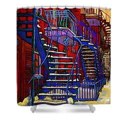 Classic Blue Winding Staircase Montreal Winter City Scene Painting  By Carole Spandau Shower Curtain by Carole Spandau