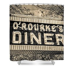Classic Diner Neon Sign Middletown Connecticut Shower Curtain by Edward Fielding