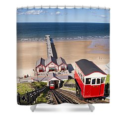 Cliff Railway Saltburn By The Sea Shower Curtain by Colin and Linda McKie