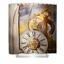 Clockmaker - A Look Back In Time Shower Curtain by Mike Savad