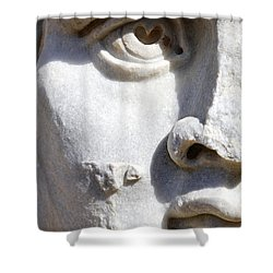 Close Up Of A Sculpted Medusa Head At The Forum Of Severus At Leptis Magna In Libya Shower Curtain by Robert Preston