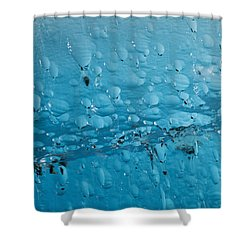 Close Up Of Air Bubbles In Iceberg Shower Curtain by Ray Bulson
