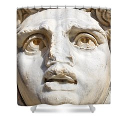 Close Up Of Sculpted Medusa Head At The Forum Of Severus At Leptis Magna In Libya Shower Curtain by Robert Preston