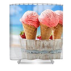 Close Up Strawberry Ice Creams Shower Curtain by Amanda Elwell