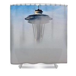 Cloud City Needle Shower Curtain by Benjamin Yeager