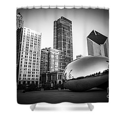 Cloud Gate Bean Chicago Skyline In Black And White Shower Curtain by Paul Velgos