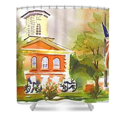 Cloudy Day At The Courthouse Shower Curtain by Kip DeVore