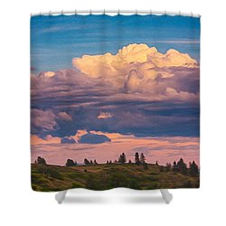 Cloudy Sunset Shower Curtain by Omaste Witkowski