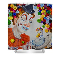 Clown And Duck With Buttons Shower Curtain by Garry Gay
