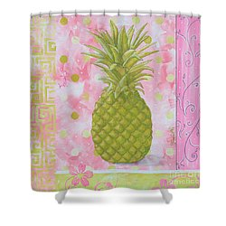 Coastal Decorative Pink Green Floral Greek Pattern Fruit Art Fresh Pineapple By Madart Shower Curtain by Megan Duncanson