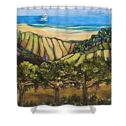 California Coastal Vineyards And Sail Boat Shower Curtain by Jen Norton